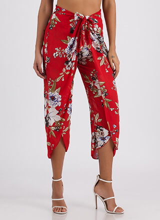 Sarong Style Tied Cropped Floral Pants