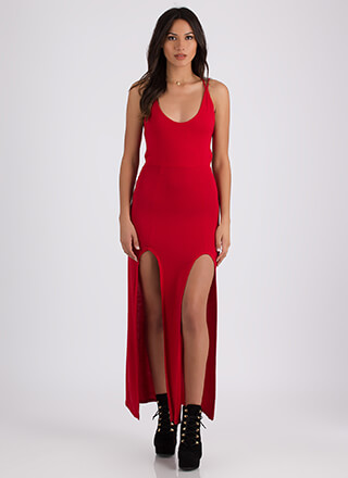 All Legs Double Slit Strappy Back Maxi