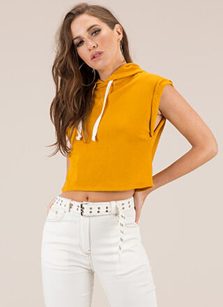 It's Cool Sleeveless Cropped Hoodie