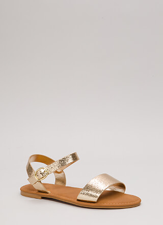 Just Coasting Metallic Foiled Sandals