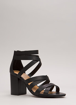 All About Straps Chunky Caged Heels