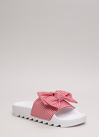 Bow My Gingham Platform Slide Sandals