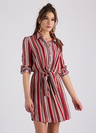 Tie-Waisted Knotted Striped Shirt Dress