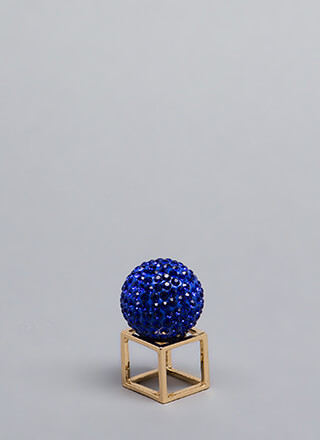 Disco Ball Jeweled Cube Ring