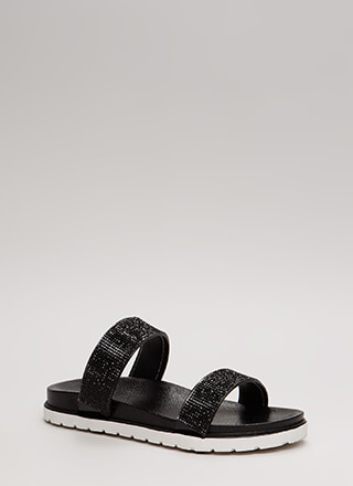 Sparkly Stroll Jeweled Slide Sandals