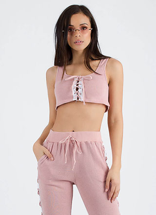 Choosing Sides Lace-Up Crop Top