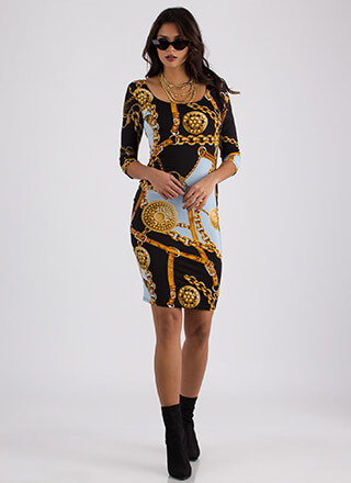 New Hardware Chain Print Midi Dress