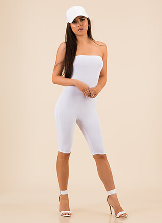 Hidden Figure Strapless Capri Jumpsuit