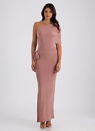 On Your Side Draped One-Shoulder Maxi