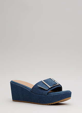 Stroll Along Denim Platform Wedges