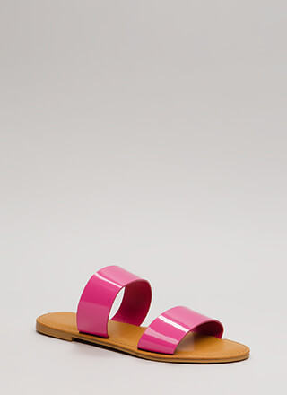 Easy Come Easy Go Faux Patent Sandals