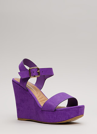 Anything Goes Faux Suede Wedges