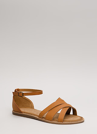 Strappy Superstar Faux Leather Sandals