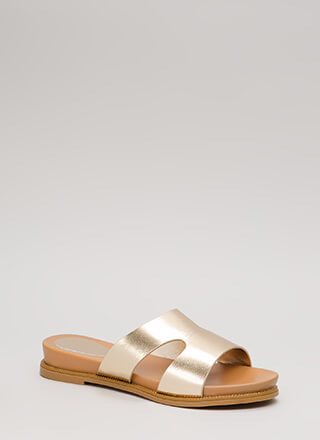 Reign Supreme Metallic Slide Sandals