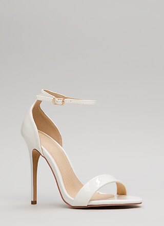Stepping Out Strappy Faux Patent Heels