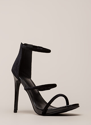 Three-Way Call Strappy Velvet Heels