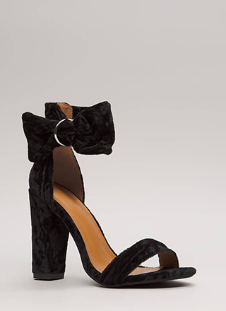 You're Plushing Velvet Ankle Cuff Heels