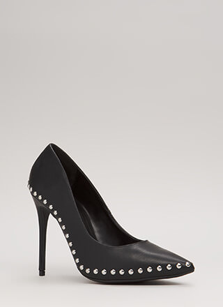 Studded Star Pointy Faux Leather Pumps
