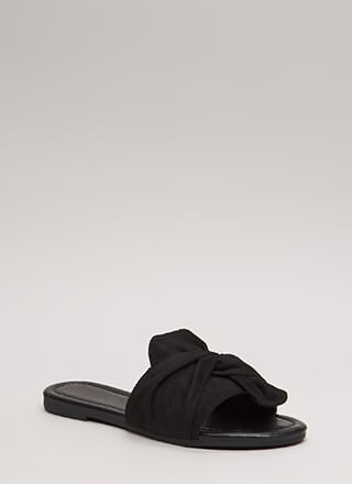 Kid You Knot Faux Suede Slide Sandals