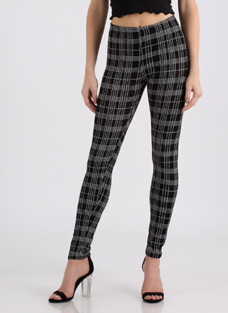 Intersection Grid Plaid Leggings