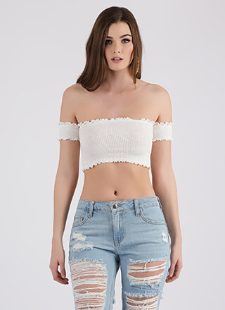 Frilled To Pieces Off-Shoulder Crop Top