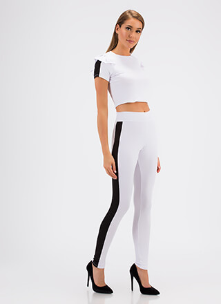 Sporty Stripe Ruffled Top And Pant Set