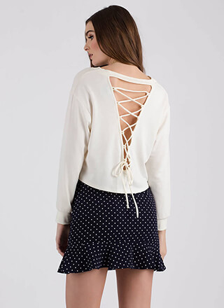 My Turn Cropped Lace-Back Sweatshirt