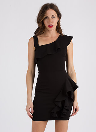 Ready To Ruffle Asymmetrical Dress