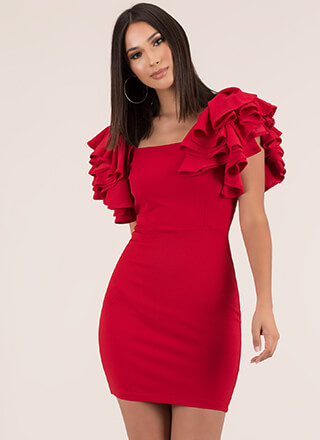 Turn Up The Volume Ruffle Sleeve Dress