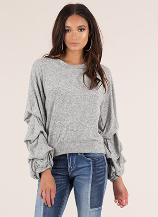 Yes Pleats Puffy Sleeve Knit Sweater