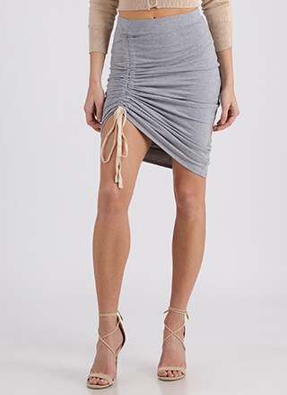 Thigh's The Limit Ruched High-Low Skirt