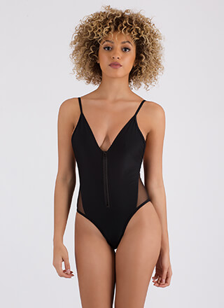 Zipping Through Sheer Mesh Swimsuit