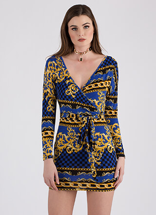 Being Baroque Tied Faux Wrap Minidress
