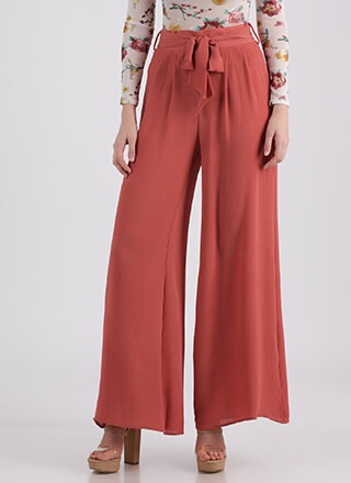 Work Flow Belted Palazzo Pants