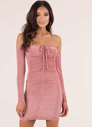 Shirr Why Not Ruched Off-Shoulder Dress