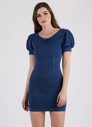 Denim Of My Dreams Puffy Sleeve Dress