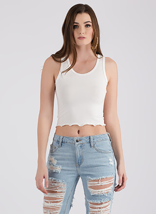 New Basic Lettuce Hem Cropped Tank