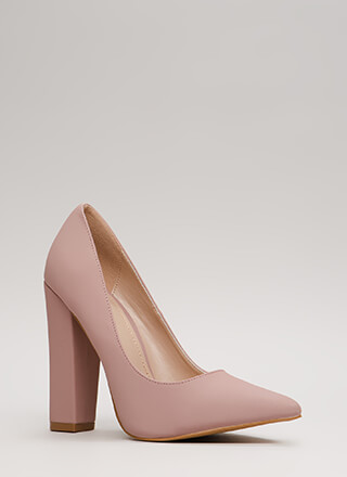 To The Point Chunky Faux Nubuck Pumps