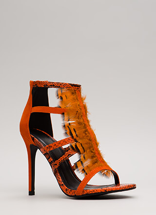Feathered Reptile Strappy Caged Heels
