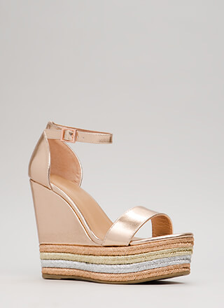 Right Choice Metallic Ankle Strap Wedges