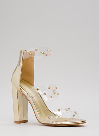 Clearly A Gem Jeweled Chunky Heels