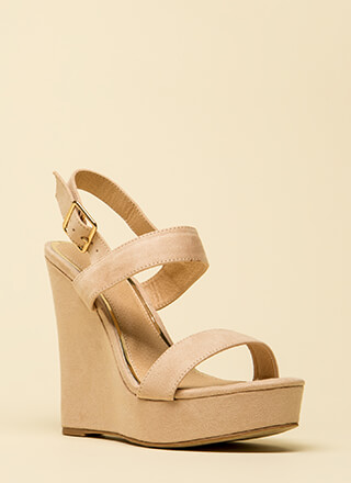 Top Hit Faux Suede Platform Wedges