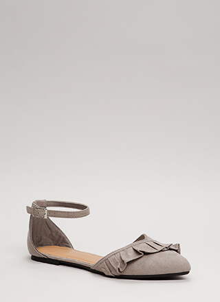 Frilly Weather Ruffled Ankle Strap Flats