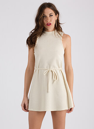 Swing Shift Belted Flared Dress