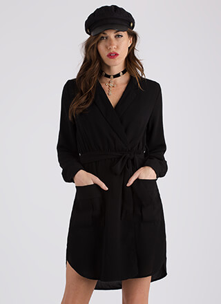Well-Suited Belted Faux Wrap Dress