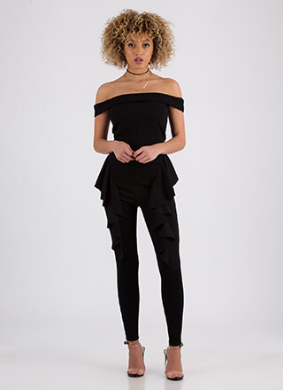 Ruffled Right Off-Shoulder Jumpsuit