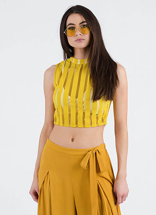 Panel Discussion Striped Mesh Crop Top