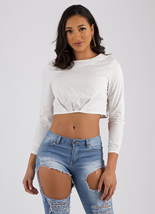 Raise Me Up Puffy Pleated Crop Top