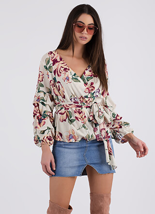 Garden Painting Floral Wrapped Blouse