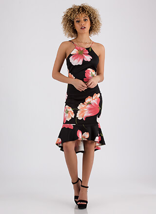 Island Vacation Ruffled Floral Dress
